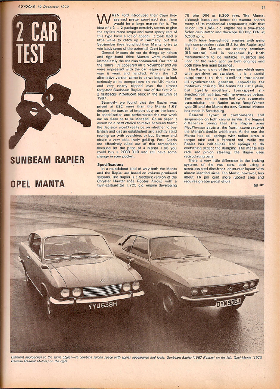 Opel Manta и Sunbeam Rapier