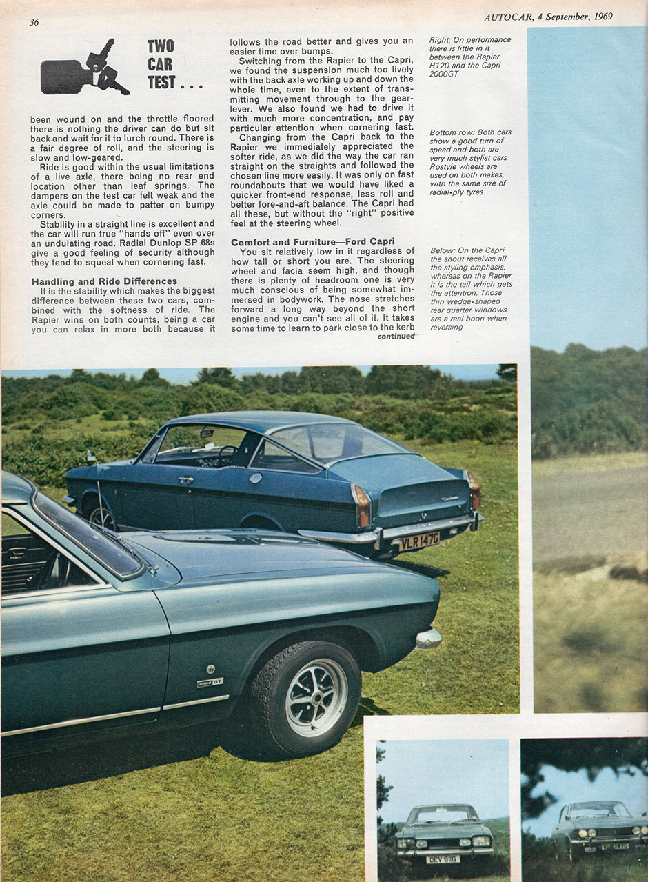Ford Capri 2000 GT Mk1 и Sunbeam Rapier H120