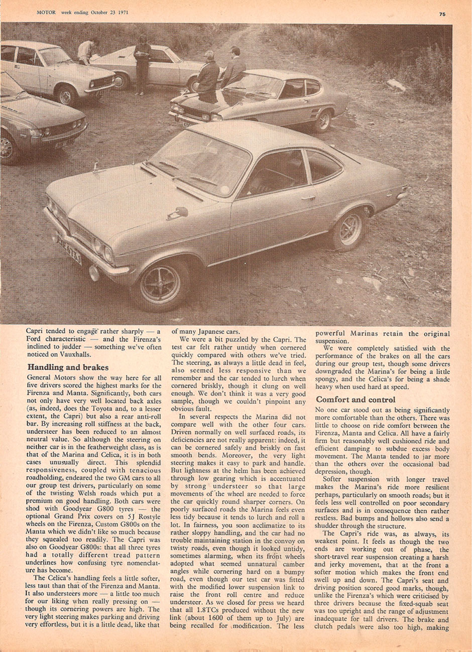 Ford Capri 2000 GT, Opel Manta 1.6S, Vauxhall Fierenza 2000, Morris Marina 1.8 TC Coupe, Toyota Celica
