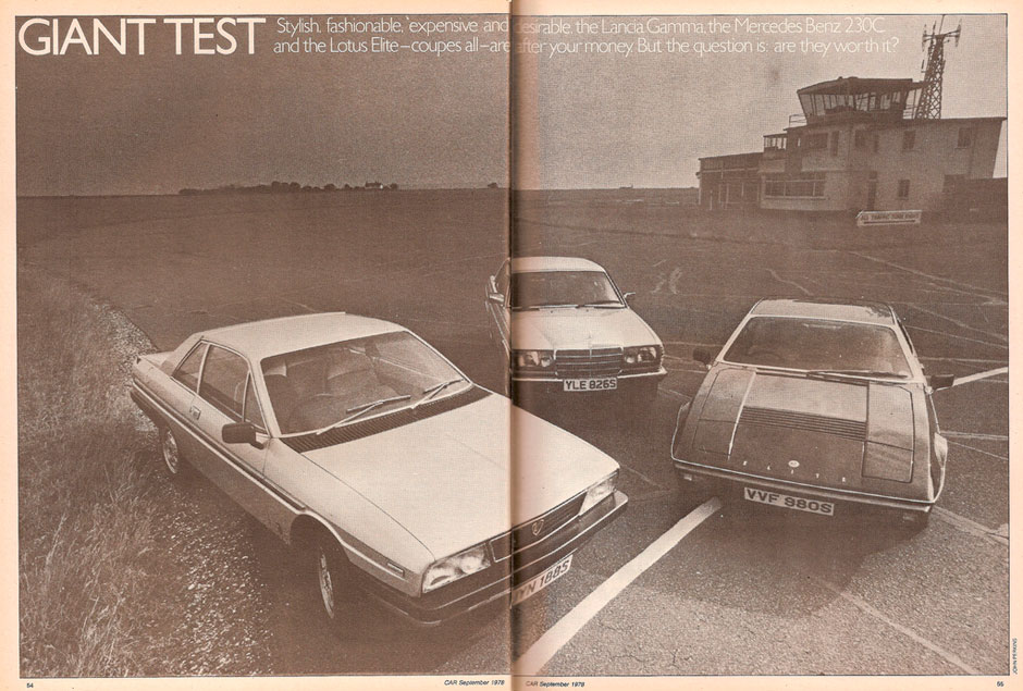 Lancia Gamma Coupe 2.5, Lotus Elite, Mercedes 230C