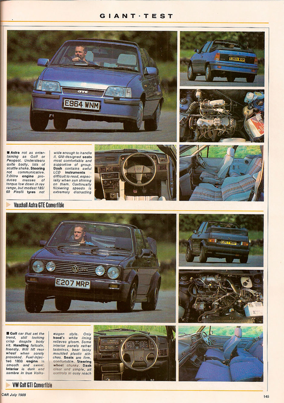 Ford Escort XR3i Cabriolet, Peugeot 205 CTi, Vauxhall Astra GTE Convertible, VW Golf GTi Cabrio