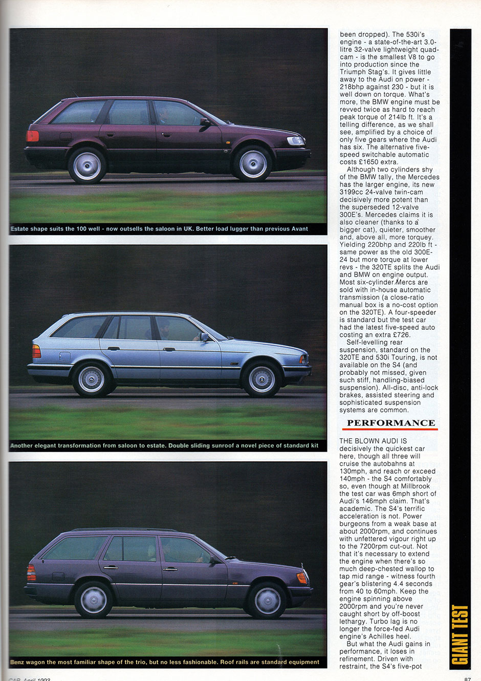 Audi S4 Estate, BMW 530i Touring, Mercedes 320 TE