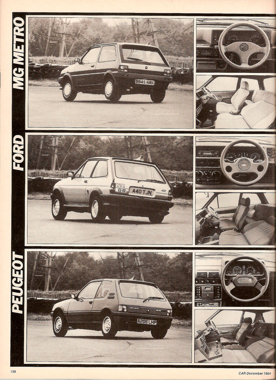 Ford Fiesta XR2, MG Metro 1300 Turbo и Peugeot 205 1.6 GTi